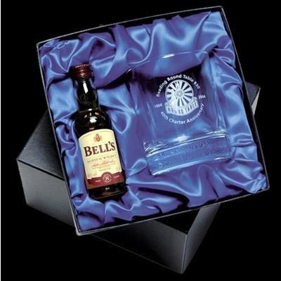 Picture of WHISKY GLASS AND 5CL MINI WHISKY BOTTLE in Satin Lined Box