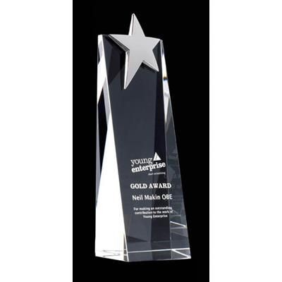 Picture of LARGE CRYSTAL WEDGE STAR AWARD with Silver Chrome Star