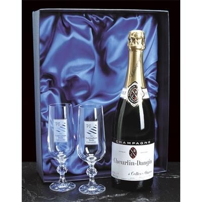 Picture of PAIR OF CRYSTAL CHAMPAGNE FLUTE GLASSES