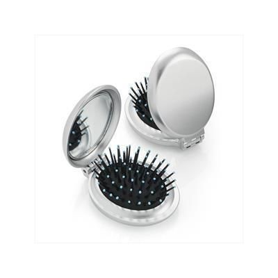 Picture of METALLIC SILVER FOLDING BRUSH AND MIRROR