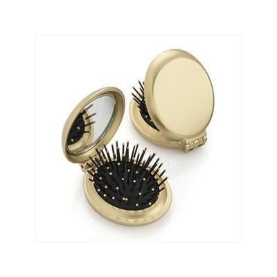 Picture of METALLIC GOLD FOLDING BRUSH AND MIRROR