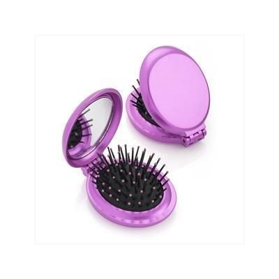 Picture of METALLIC PINK FOLDING BRUSH AND MIRROR