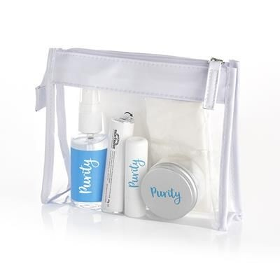 Picture of WELLNESS SET in Clear Transparent PVC White Trim Bag