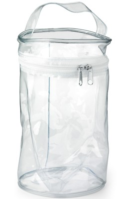 Picture of ROUND ZIP TOILETRY BAG with Handle in Clear Transparent