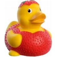 Picture of STRAWBERRY RUBBER DUCK in Yellow & Red