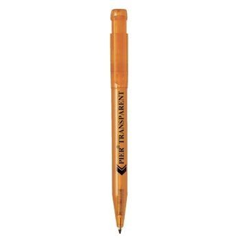Picture of PIER CLEAR TRANSPARENT RETRACTABLE PLASTIC BALL PEN in Orange