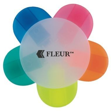 Picture of FLEUR ATTRACTIVE FLOWER SHAPE HIGHLIGHTER, with 5 Different Ink Colour Petals, Frosted Middle Sectio