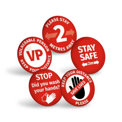 Picture of STAY SAFE RED BUTTON BADGE