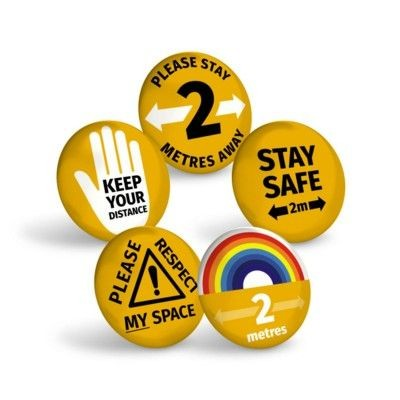 Picture of STAY SAFE AMBER BUTTON BADGE
