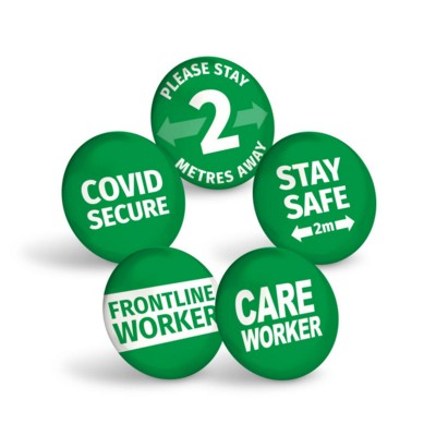 Picture of STAY SAFE GREEN BUTTON BADGE