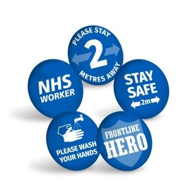 Picture of STAY SAFE BLUE BUTTON BADGE