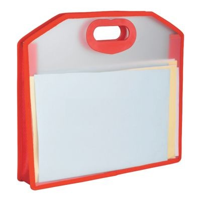 Picture of FROSTED POLYPROPYLENE HAND HELD DOCUMENT BAG with Red Colour Trim