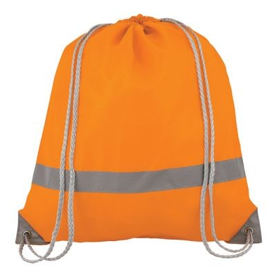 Picture of HIGH VISIBILITY WATER RESISTANT DRAWSTRING BACKPACK RUCKSACK in Neon Fluorescent Orange