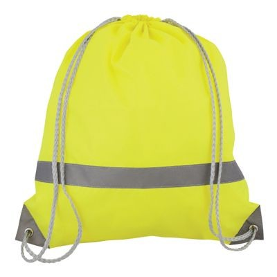 Picture of HIGH VISIBILITY WATER RESISTANT DRAWSTRING BACKPACK RUCKSACK in Neon Fluorescent Yellow