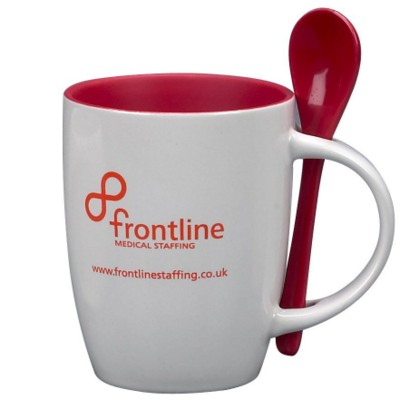 Picture of MUG & SPOON CERAMIC POTTERY MUG in White & Red
