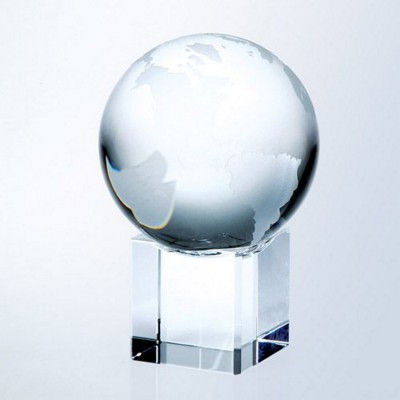 Picture of WORLD GLOBE GLASS AWARD WITH CUBE BASE Minimum Quantity: 1