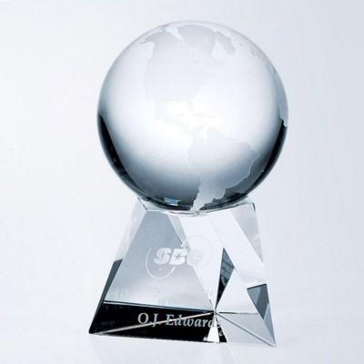 Picture of WORLD GLOBE GLASS AWARD WITH TAPERED COLUMN BASE