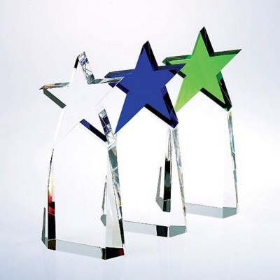 Picture of TRIUMPHANT STAR GLASS AWARD IN BLUE