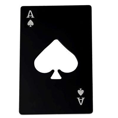 Picture of BOTTLE OPENER RECTANGULAR BLACK ACE OF SPADES