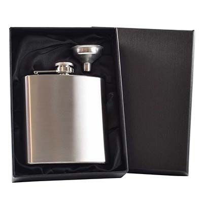 Picture of 6OZ HIP FLASK in Silver with Funnel in Black Satin Lined Gift Box