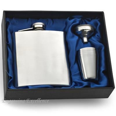 Picture of 6OZ HIP FLASK in Blue Satin Lined Gift Box with Cup