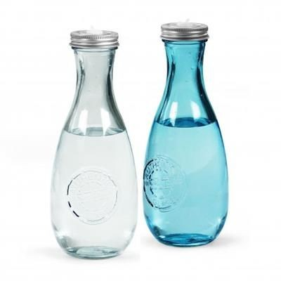 Picture of MINIGLOU RECYCLED GLASS BOTTLE with Screw Cover & Lid to Insert a Straw - 600ml
