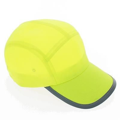 Picture of WARNING LINE 5 PANEL BASEBALL CAP with Reflective Piping in Yellow