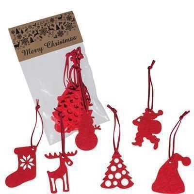 Picture of FERGUS FELT CHRISTMAS PENDANT DECORATION- 6 PIECES