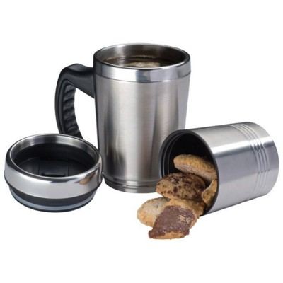 Picture of HADLEY 2-IN-1 METAL THERMAL INSULATED THERMAL INSULATED TRAVEL MUG in Silver