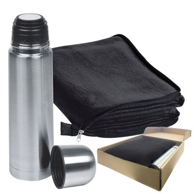 Picture of LIVERPOOL SET FLEECE PICNIC BLANKET & THERMAL INSULATED THERMAL INSULATED FLASK SET in Black