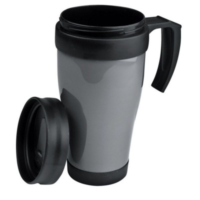 Picture of FORT WORTH PLASTIC THERMAL INSULATED THERMAL INSULATED TRAVEL MUG in Silver