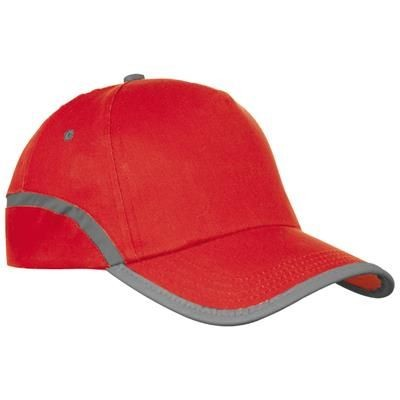 Picture of DALLAS 5 PANEL REFLECTIVE BASEBALL CAP in Red