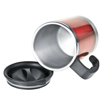 Picture of OKLAHOMA CITY SILVER STAINLESS STEEL METAL THERMAL INSULATED THERMO CUP in Red