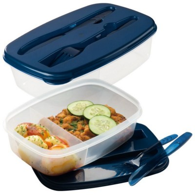 Picture of MATINO PLASTIC FOOD BOX with Cutlery in Navy