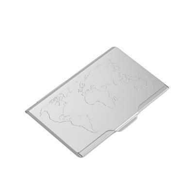 Picture of TROIKA GLOBAL CONTACTS BUSINESS CARD HOLDER with Embossed World Map on Lid