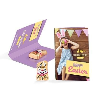 Picture of PROMOTION BUSINESS CARD FORMAT RIEGELEIN CHOCOLATE EASTER BUNNY RABBIT