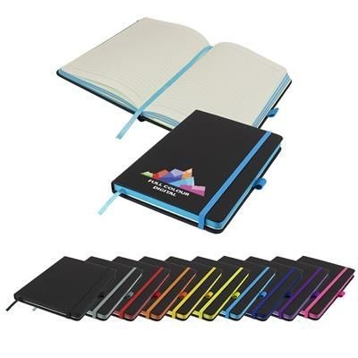 Picture of FULL COLOUR DENIRO EDGE A5 LINED SOFT TOUCH NOTE BOOK