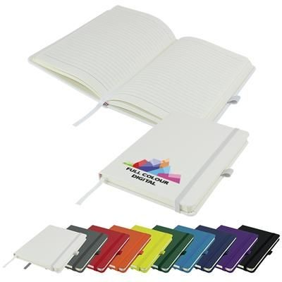 Picture of FULL COLOUR PRINTED DIMES A5 LINED SOFT TOUCH PU NOTE BOOK 196 PAGES in White