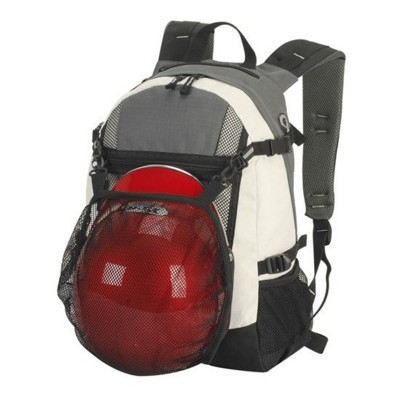INDIANA POLYESTER SPORTS BACKPACK RUCKSACK in Dark Grey & Off White
