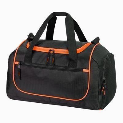 Picture of PIRAEUS SPORTS HOLDALL OVERNIGHT BAG in Black & Orange