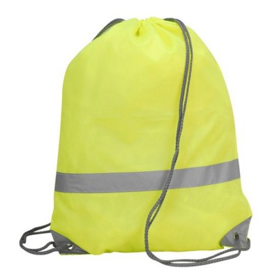 Picture of STAFFORD HIGH VISIBILITY REFLECTIVE DRAWSTRING TOTE BACKPACK RUCKSACK in Neon Fluorescent Yellow