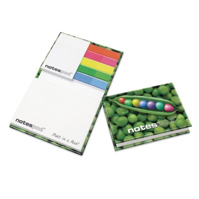 Picture of NOTESPOD PLUS HARDBACK COVER CONTAINS FIVE 25 SHEET PLAIN INDEX TABS, ONE A8 50X75MM 25 SHEET STICKY