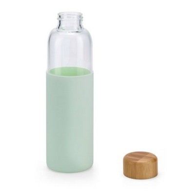 Picture of DAKAR BOROSILICATE GLASS BOTTLE with Bamboo Lid & Silicon Pouch