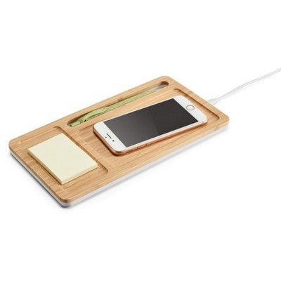 Picture of MOTT BAMBOO AND ABS OFFICE ORGANIZER with Cordless Charger