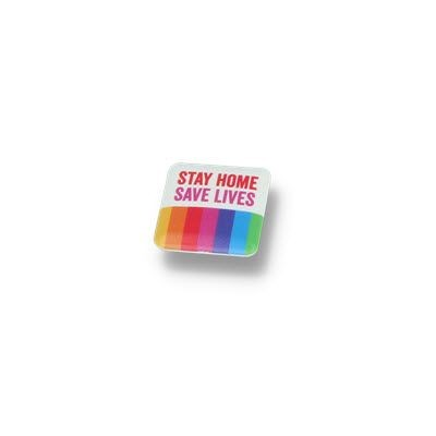 Picture of STAY HOME BUTTON BADGE – 25MM SQUARE