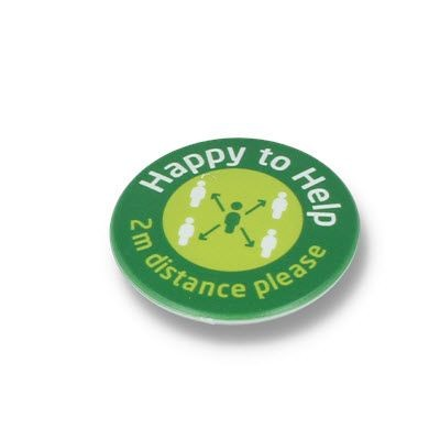 Picture of HAPPY TO HELP SOCIAL DISTANCING DBASE BADGE – 45MM CIRCLE