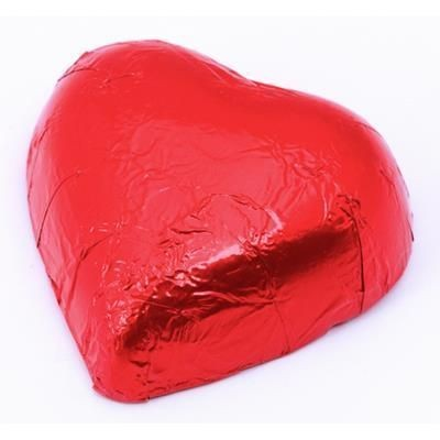 Picture of VALENTINES MILK CHOCOLATE PRALINE RED FOIL HEARTS