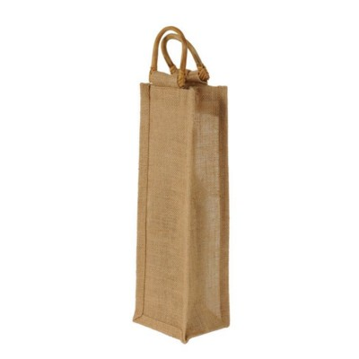 JUTE ONE BOTTLE BAG with Cane Handles in Natural