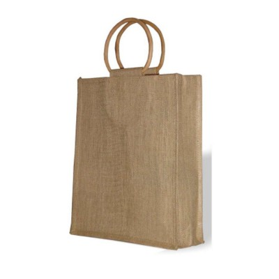 JUTE THREE BOTTLE BAG with Cane Handles in Natural