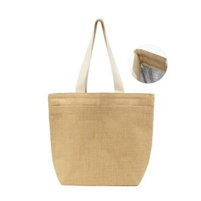 Picture of CHUGU LAMINATED JUTE BAG with Padded Foil Lining, Zipper Closure & Front Pocket